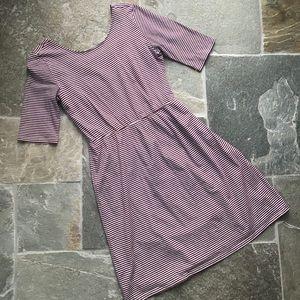 5/$25 Burgundy striped dress Girls 14 or women XS